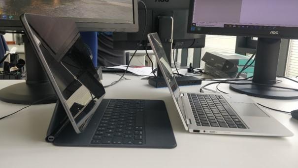 Der Bildschirm des iPad Pro wirkt größer als der eines HP x360