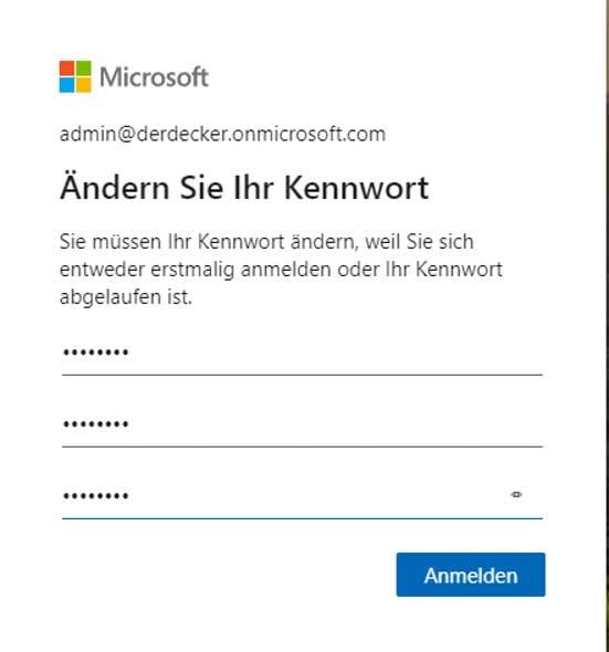 Erstes Einloggen in Microsoft Teams