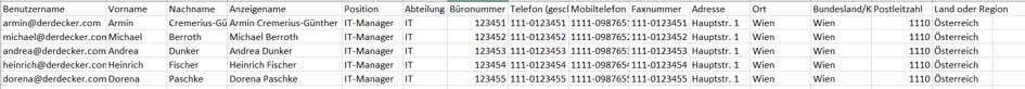 Importierung von Nutzern mittels CSV Datei