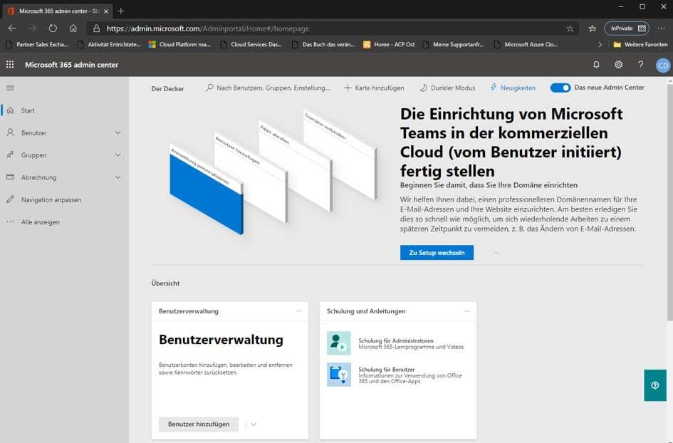 Das Admin Portal der Microsoft Cloud