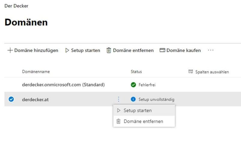 Domänen Setup für die Microsoft Cloud
