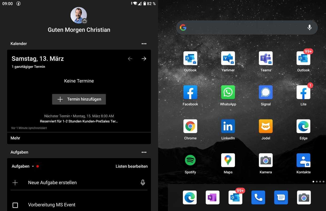 Terminübersicht beim Microsoft Surface Duo