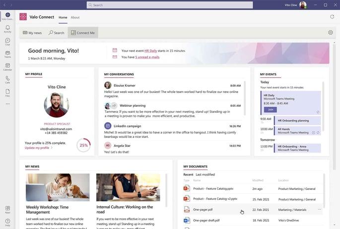 Connect Me Dashboard in Microsoft Teams, Screenshot: Valo