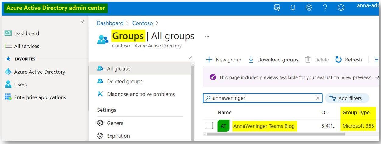 Azure Active Directory admin center (AAD)